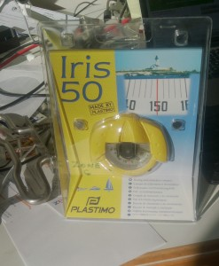 A Plastimo Iris 50 bearing compass. Notice the Maxi cleats next to it. Those are bound for fellow Maxi owner Giriot.