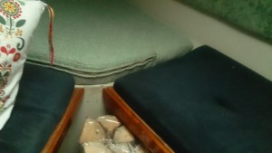 The original, blue cushions are less than half the height of the news, light green cushions.