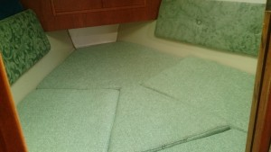 The completed V-berth cushions.