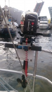 3 HP outboard with lock. The Fremont Bridge is open in the background.