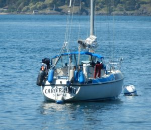 Caro Babbo anchored off Turn island with more and more stuff hanging from her transom.