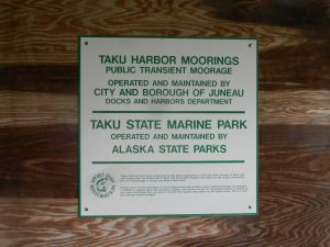 This sign explains that these floats are for sport fishing and recreational users. Commercial boats should us the other two floats in the harbor.