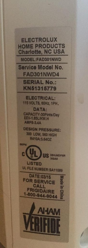 The label on the dehumidifier that freed us from the recall hassle.